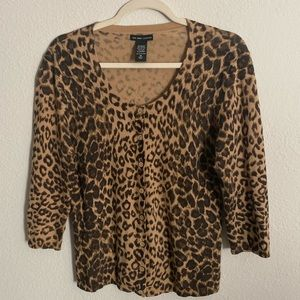 New York & Company Leopard Print Cardigan medium